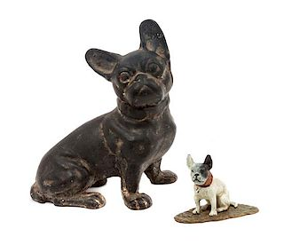 * Two Metal French Bulldogs Height of taller 7 3/4 inches.