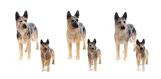 * A Group of Six Bewsick Porcelain German Shepherds Width of widest 7 inches.