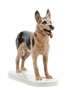 * A Meissen Porcelain German Shepherd Height 7 1/2 inches.