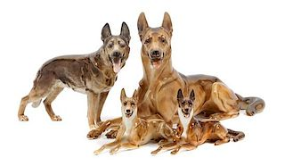 * A Group of Four Hutschenreuther Porcelain German Shepherds Width of widest 13 1/2 inches.