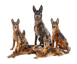 * A Group of Five Rosenthal Porcelain German Shepherds Height of tallest 8 1/4 inches.