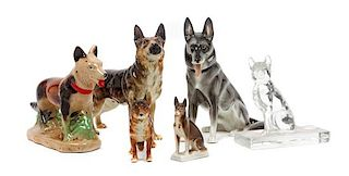 * A Group of Six German Shepherd Figures Height of tallest 7 1/8 inches.