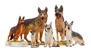 * A Group of Six Porcelain and Ceramic German Shepherds Width of widest 9 1/2 inches.