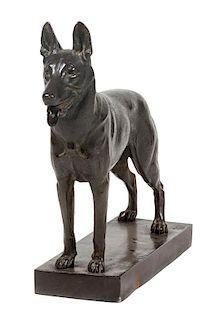 * A Bronze German Shepherd Sculpture Height 18 x width 23 x depth 6 inches.