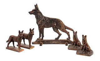 * A Group of Five Bronze German Shepherds Height of tallest 12 inches.