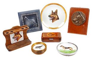 * A Collection of Twelve German Shepherd Table Articles Diameter of plate 9 3/4 inches.