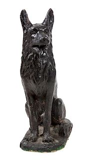 * A Painted Concrete German Shepherd Sculpture Height 37 x width 12 x depth 21 inches.