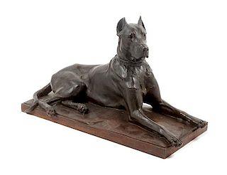 * A Bronze Great Dane Sculpture Height 10 1/4 x width 18 1/2 x depth 7 1/4 inches.