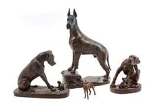 * A Group of Four Great Dane Sculptures Height of tallest 10 inches.