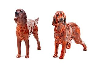 * Two Porcelain Irish Setter Figures Width of wider 8 1/2 inches.