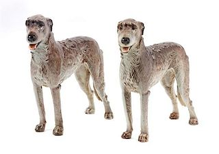 * Two Nymphenburg Porcelain Irish Wolfhounds Width 14 inches.