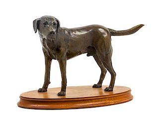* A Bronze Labrador Retriever Sculpture Height 8 3/4 x width 13 x depth 7 inches.
