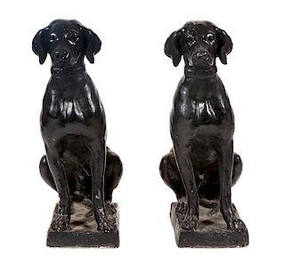 * A Pair of Painted Concrete Labrador Retrievers Height 29 inches.