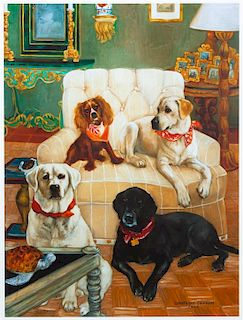 * Two Works of Art depicting Labrador Retrievers Larger: 20 1/2 x 15 3/8 inches.