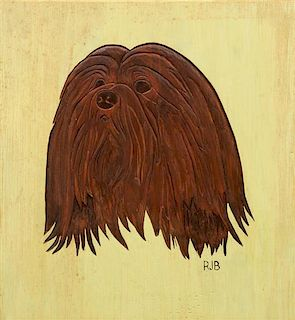 * Two Works of Art depicting Lhasa Apsos Larger: 11 1/8 x 10 1/8 inches.