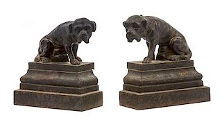 * A Pair of Painted Cast Iron Mastiff Doorstops Height 6 1/2 inches.