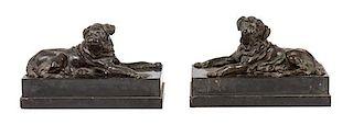 * A Pair of Bronze Mastiffs Width of each 14 inches.