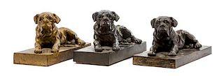 * A Group of Three Bronze Mastiffs Width 10 1/2 inches.