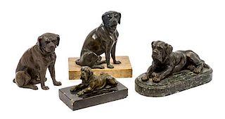* A Group of Four Bronze Mastiff Figures Width of widest 9 1/2 inches.