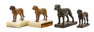 * A Group of Four Bronze Mastiffs Width of widest 6 1/2 inches.