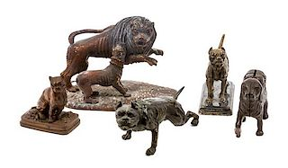 * A Group of Five Mastiff Figures Width of widest 7 1/4 inches.