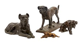 * A Group of Four Bronze Mastiffs Width of widest 9 1/2 inches.