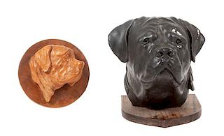 * Two Mastiff Head Studies Height of taller 14 inches.