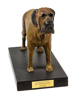 * A Bronze English Mastiff Sculpture Height 15 1/2 x width 20 x depth 10 inches.