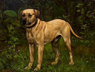 * Five Works of Art depicting Mastiffs Largest: 19 1/2 x 25 1/2 inches.