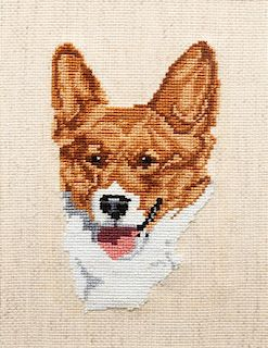 * Three Works of Art depicting Pembroke Welsh Corgis Larger: 15 x 22 inches.