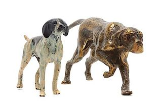 * Two Metal Pointer Figures Width of wider 7 3/4 inches.