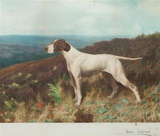 * Three Works of Art depicting Pointers Largest: 19 1/4 x 22 1/2 inches.