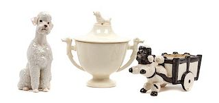 * Three Porcelain Poodle Articles Height of tallest 6 1/2 inches.