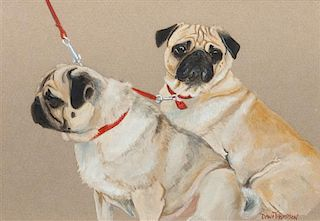 * A Watercolor depicting Two Pugs 5 1/4 x 7 1/2 inches.