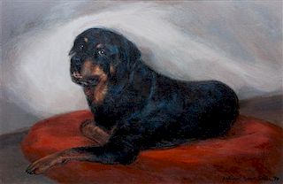 * Three Rottweiler Paintings, , comprising Katherine Grove Sailer Anna Danzer Tilghman and Her Rottweiler, 1984 oil on canvas; K