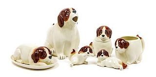 * A Group of Six Saint Bernard Table Articles Height of tallest 7 1/2 inches.