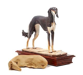* Two Saluki Figures Width of wider 10 1/2 inches.