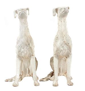 * A Pair of Painted Ceramic Salukis Height 37 1/2 inches.