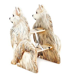 * A Set of Samoyed Library Steps Height 32 inches.
