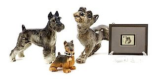 * A Group of Four Schnauzer Figures Width of widest 8 3/4 inches.