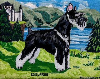 * Three Works of Art depicting Schnauzers Largest: 27 1/2 x 21 1/2 inches.