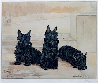 * Two Works of Art depicting Scottish Terriers Larger: 11 1/2 x 13 1/2 inches.