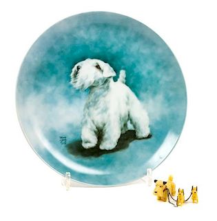 * Two Sealyham Terrier Articles Diameter of plate 8 1/4 inches.