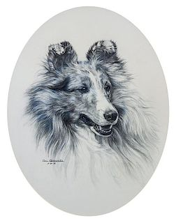 * Three Works of Art depicting Shetland Sheepdogs Largest: 17 x 12 inches.