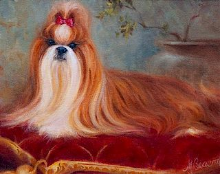 * Three Works of Art depicting Shih Tzus Largest: 11 3/4 x 16 1/4 inches.