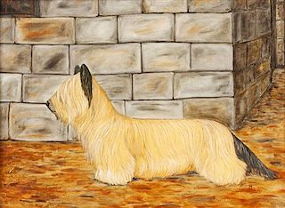 * Three Works of Art depicting Skyecrest Terriers Largest: 17 1/4 x 23 1/2 inches.