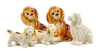 * A Group of Five Spaniel Planters Height of tallest 8 inches.