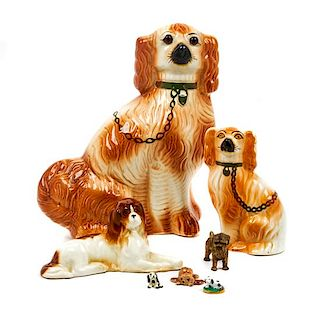 * A Group of Seven Spaniels Height of tallest 13 1/2 inches.