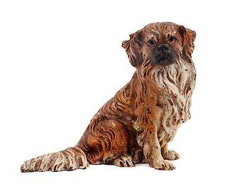 * An Austrian Cold Painted Bronze Tibetan Spaniel Height 3 inches.