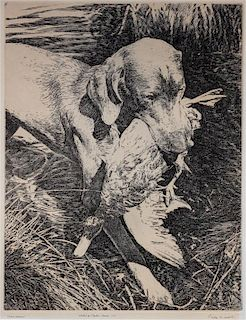 * An Etching of a Weimaraner Image: 12 5/8 x 9 7/8 inches.